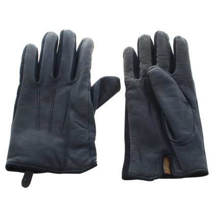 Hugo Boss  Leather gloves in blue