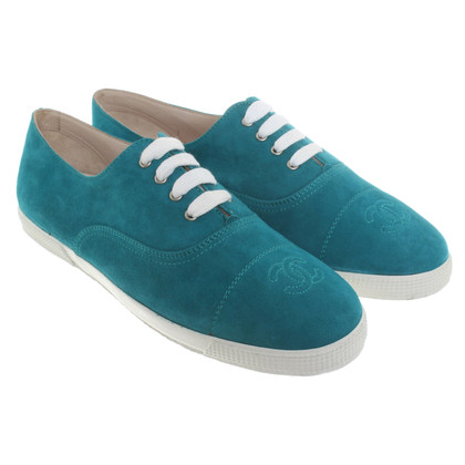 Chanel Turquoise lace-up shoes