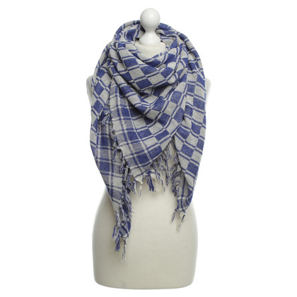 Isabel Marant Etoile silk scarf with checkerboard pattern
