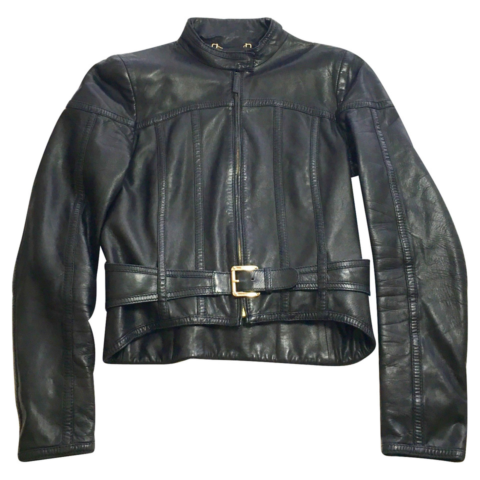 Leather jacket olx - Gucci Gg Biker Leather Jacket Second Hand