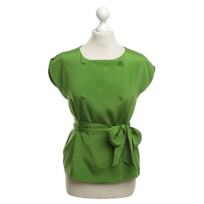 Tara Jarmon Silk Top in Green