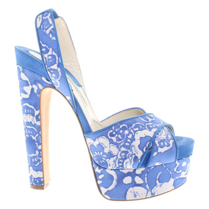 Brian Atwood Sandals in Blauw / Wit