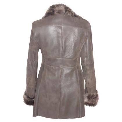 Vent Couvert Veste en cuir d'agneau marron foncé