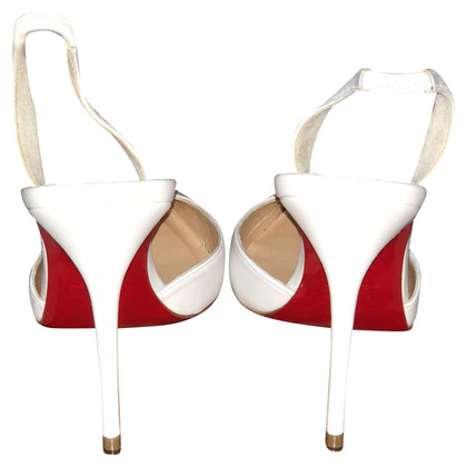 Christian Louboutin Slingbacks in white / gold