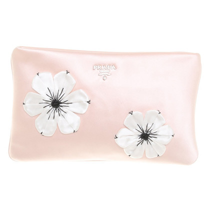 Prada Clutch mit floralen Appliaktionen