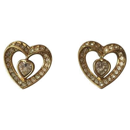 Christian Dior Heart-shaped earrings with rhinestone