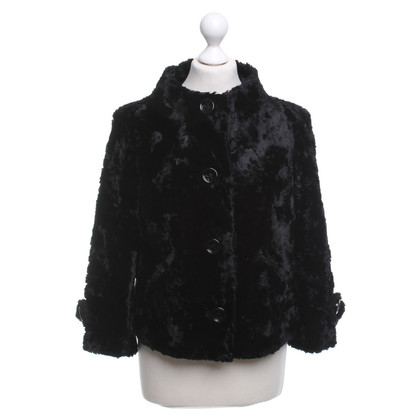 Piu & Piu Faux fur jacket in black
