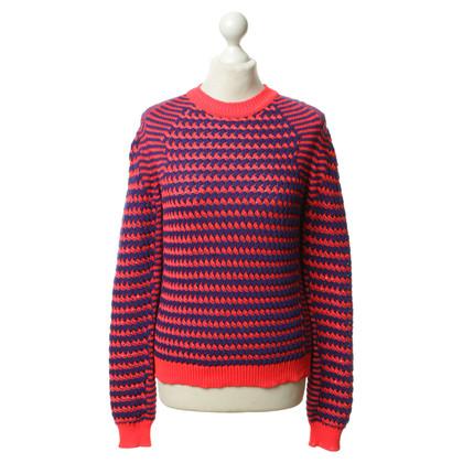 Kenzo Maglioni lavorati a maglia in blu-neon rosso