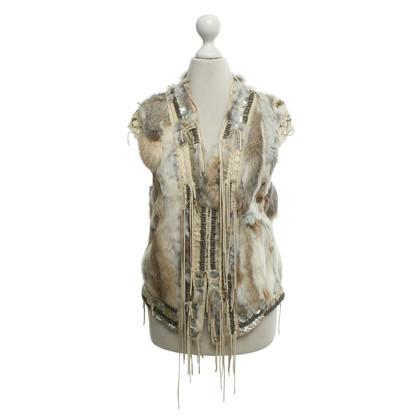 Zadig & Voltaire Leather vest with fur trim