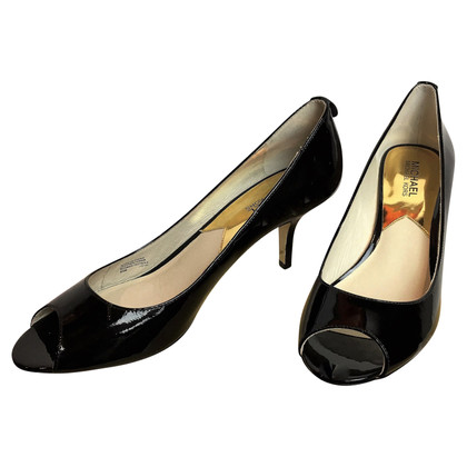 "Michael Kors ""Winslow"" open toe patent leather pumps"