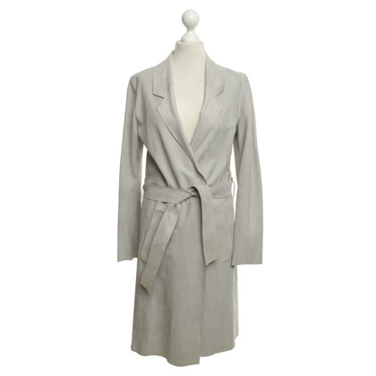 Closed Lederen jas in lichtgrijs