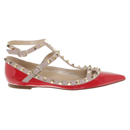 Valentino Rockstud ballerinas in red