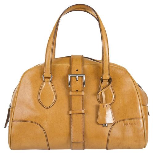 a181648c5ed5 Prada Leather bowling bag - Second Hand Prada Leather bowling bag ...