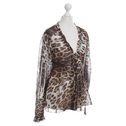 Roberto Cavalli Luipaard print zijde chiffon blouse