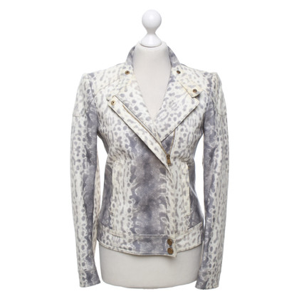 Gucci Lederen jas in creme / grijs