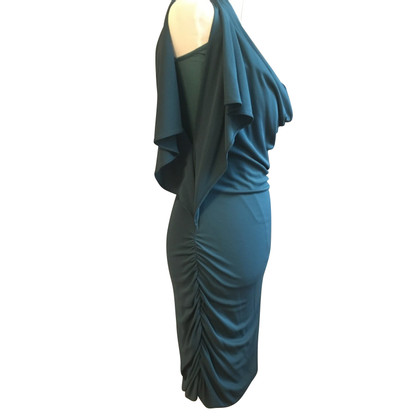 Halston Heritage Petrol colored dress with ruffles
