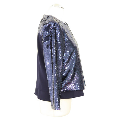 Whistles top paillettes in blu scuro