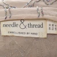 Needle & Thread Abito in seta beige