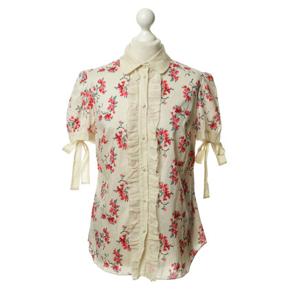 Red Valentino Cotton blouse with a floral pattern