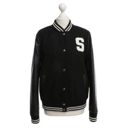 Set College-Jacke in Schwarz/Weiß
