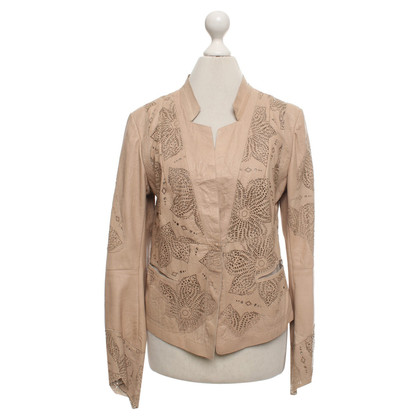 Marc Cain Giacca in pelle beige