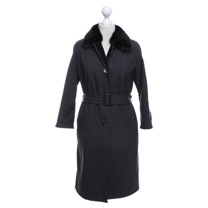 Prada Lined wool coat with fur trim