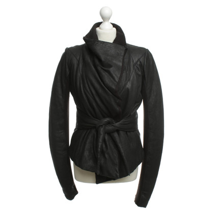 Rick Owens Kunst leren jas in zwart