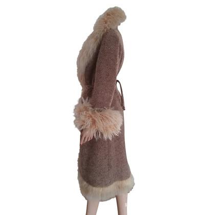 Ermanno Scervino Cappotto in lana con pelliccia di agnello mongolo
