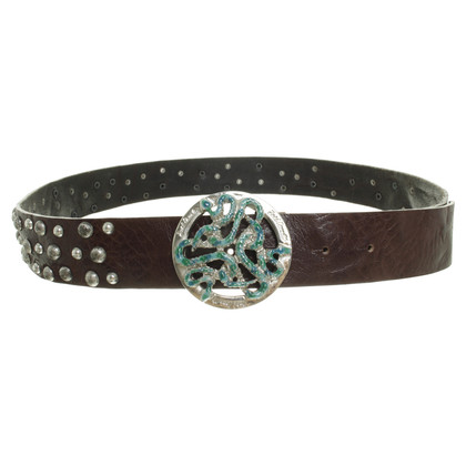 Just Cavalli Leather belt with rivets