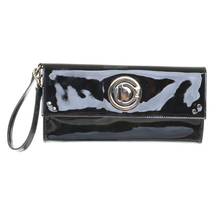 Christian Dior Black Lacklederclutch