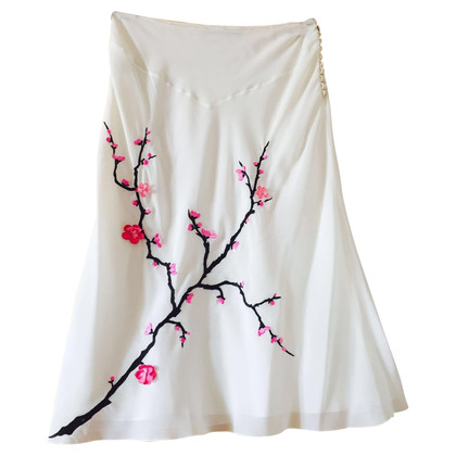 John Galliano Silk skirt with embroidery