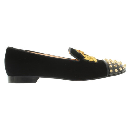 Christian Louboutin Velvet slippers with rivets