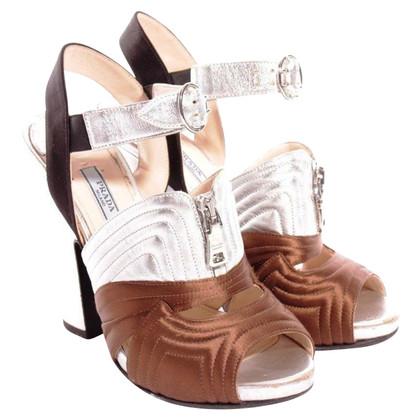 Prada Silberfarbene Satin-Sandaletten