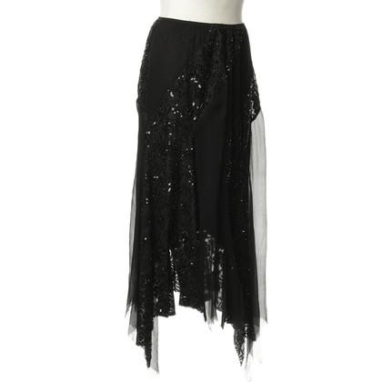 Twin-Set Simona Barbieri Asymmetric skirt with sequin trim