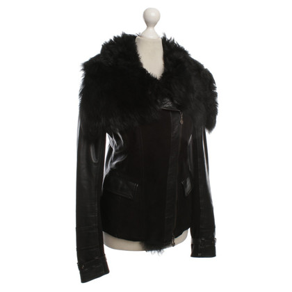 Patrizia Pepe Leather jacket with Sheepskin collar