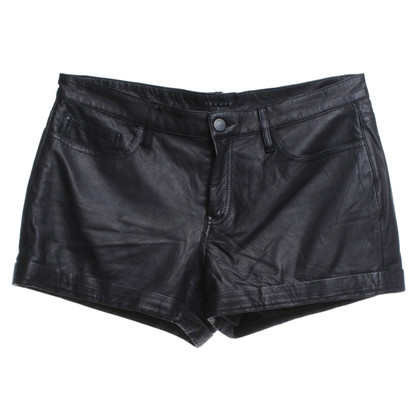 Theory Lederen shorts in zwart