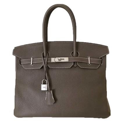 """Hermès """"Birkin Bag 35"""" in Etoupe dalla pelle di Clemence"""