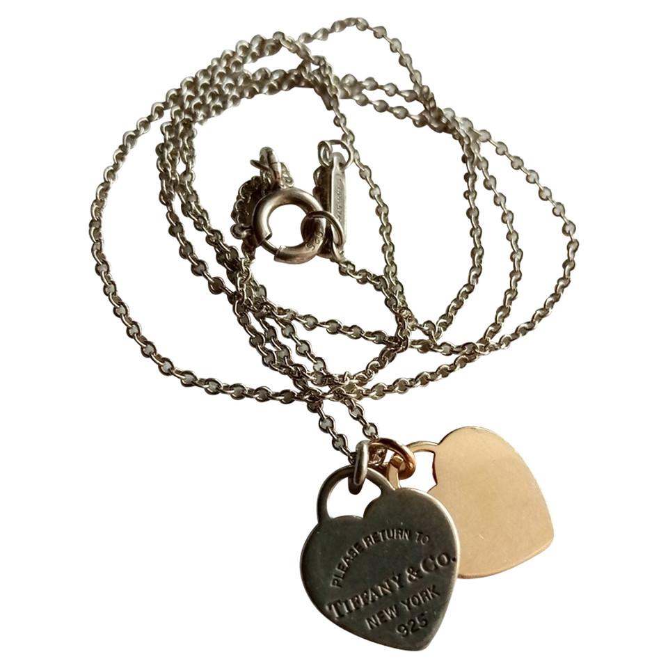 tiffany co double coeur collier d 39 argent or rose acheter tiffany co double coeur. Black Bedroom Furniture Sets. Home Design Ideas