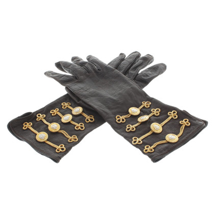 Gianni Versace Leather gloves with application