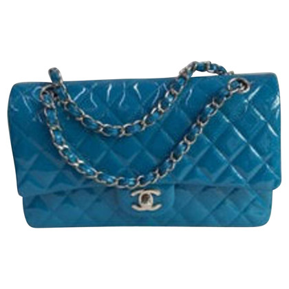 Chanel Turquoise Quilted Patent Jumbo media