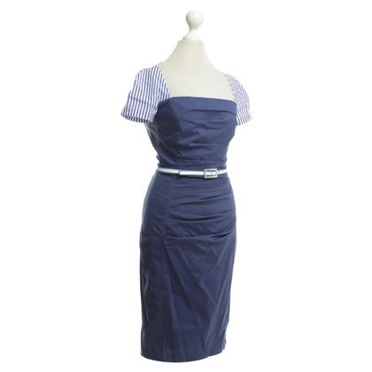 Talbot Runhof Blauwe jurk met riem