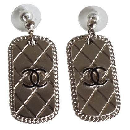 Chanel Dogtag earrings with CC logo