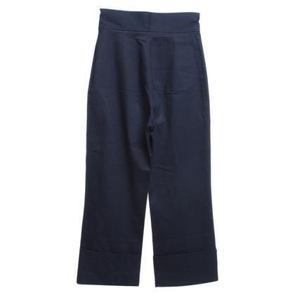 Miu Miu Pantaloni di cotone in blu scuro