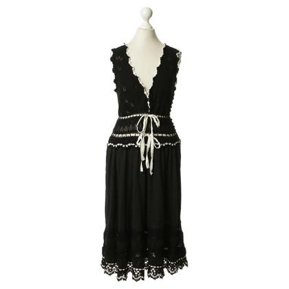 Kenzo Schwarzes Kleid mit Häkelbesatz