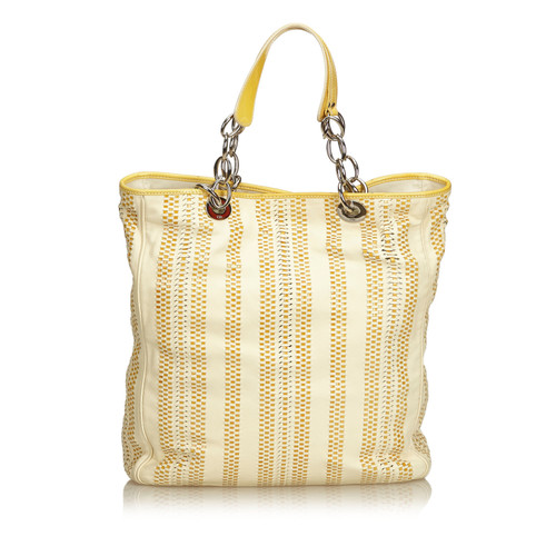 c2a3be1340f Christian Dior Large Woven Leather Soft Shopper Tote - Second Hand ...