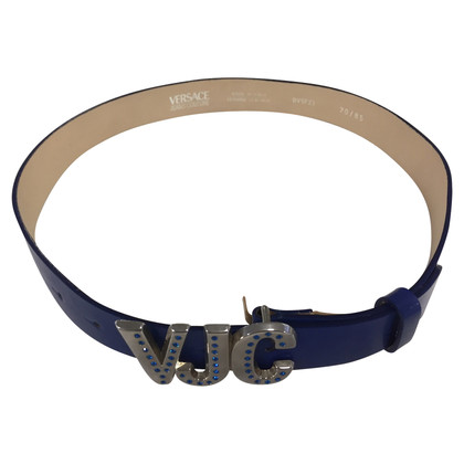 Versace Blue leather belt