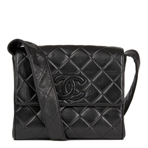 a5819bb28dea82 Chanel Black Quilted Lambskin Vintage Leather Logo Shoulder Flap Bag ...