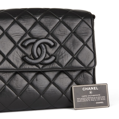 6132681c8c08 Chanel Black Quilted Lambskin Vintage Leather Logo Shoulder Flap Bag ...