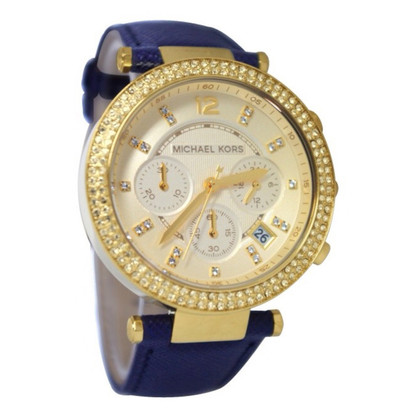 Michael Kors Parker Chronograph Navy Leather Watch