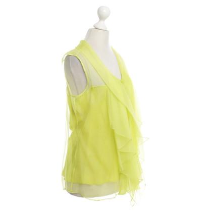 Oscar de la Renta Top in seta in giallo neon